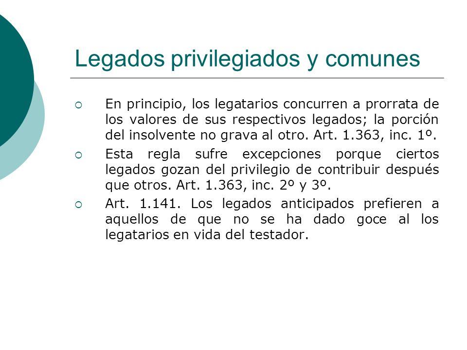 Legados privilegiados y comunes En principio, los legatarios concurren a prorrata de los valores de sus respectivos legados; la porción del insolvente
