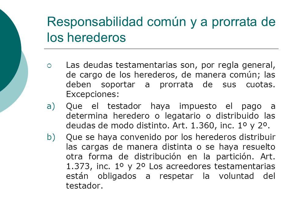 Responsabilidad común y a prorrata de los herederos Las deudas testamentarias son, por regla general, de cargo de los herederos, de manera común; las