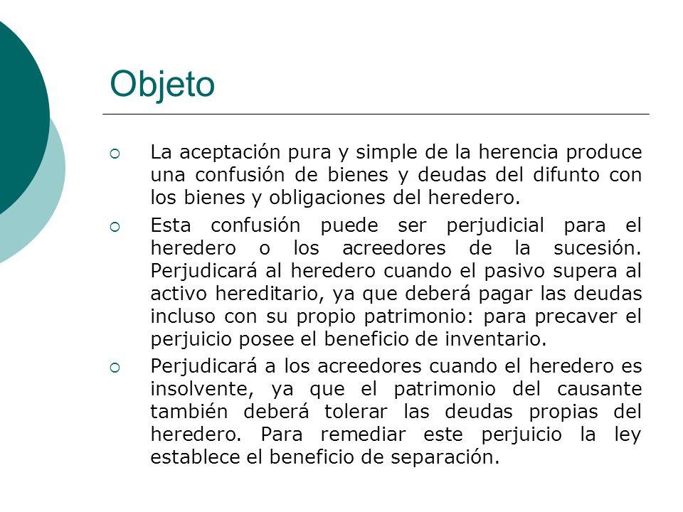 Objeto La aceptación pura y simple de la herencia produce una confusión de bienes y deudas del difunto con los bienes y obligaciones del heredero. Est