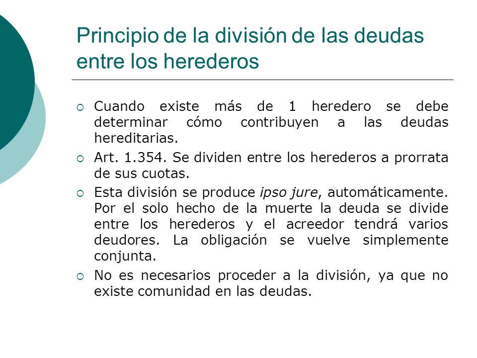 Principio de la división de las deudas entre los herederos Cuando existe más de 1 heredero se debe determinar cómo contribuyen a las deudas hereditari