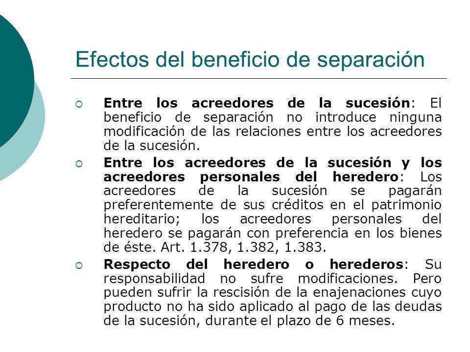 Efectos del beneficio de separación Entre los acreedores de la sucesión: El beneficio de separación no introduce ninguna modificación de las relacione