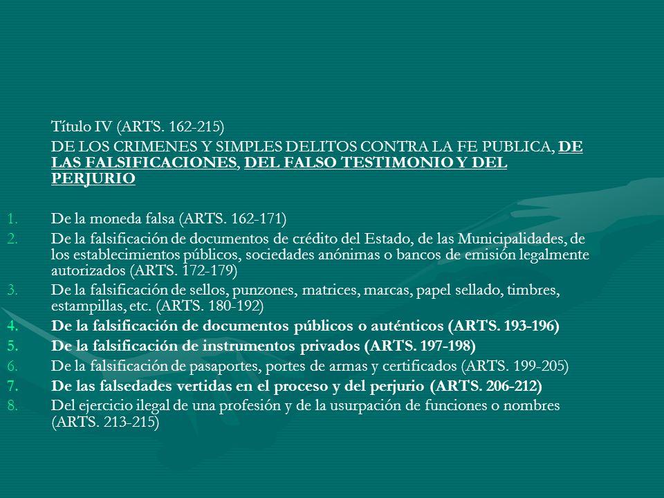 Título IV (ARTS. 162-215) DE LOS CRIMENES Y SIMPLES DELITOS CONTRA LA FE PUBLICA, DE LAS FALSIFICACIONES, DEL FALSO TESTIMONIO Y DEL PERJURIO 1. 1.De