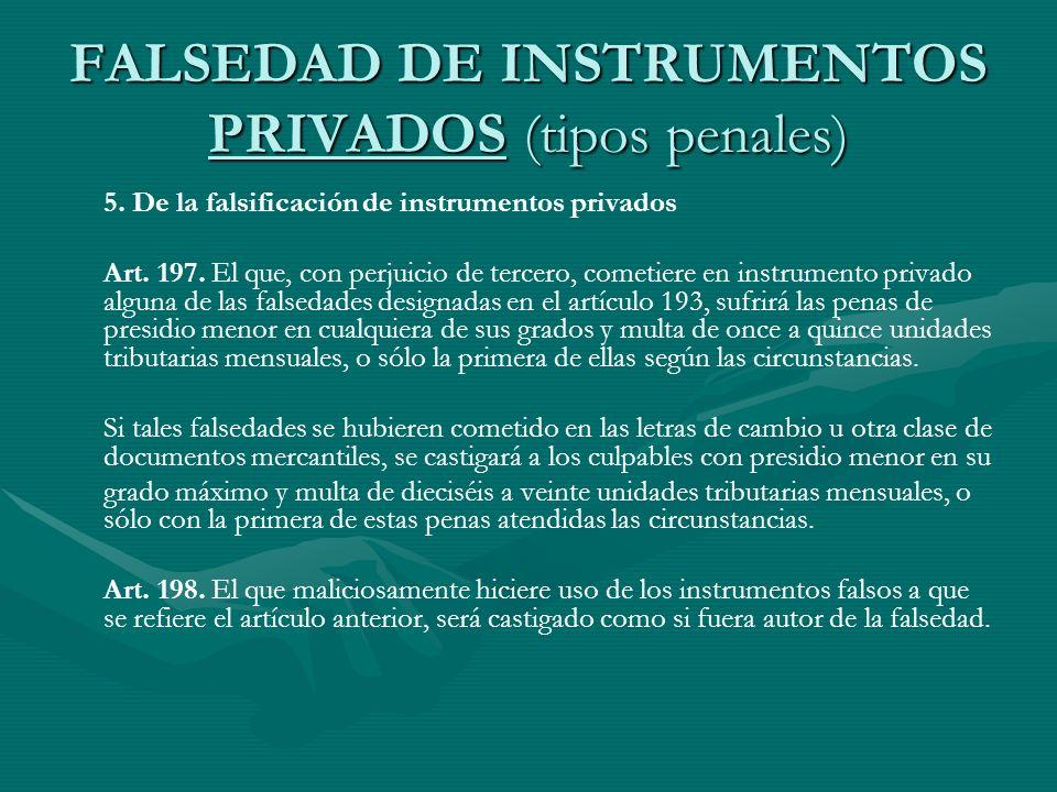 FALSEDAD DE INSTRUMENTOS PRIVADOS (tipos penales) 5. De la falsificación de instrumentos privados Art. 197. El que, con perjuicio de tercero, cometier