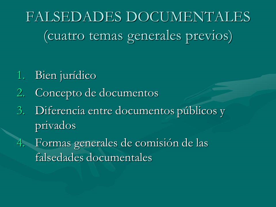 FALSEDADES DOCUMENTALES (cuatro temas generales previos) 1.Bien jurídico 2.Concepto de documentos 3.Diferencia entre documentos públicos y privados 4.