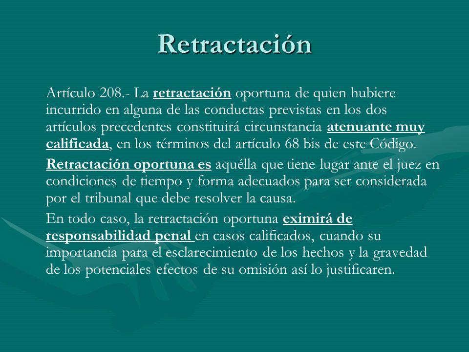 Retractación Artículo 208.- La retractación oportuna de quien hubiere incurrido en alguna de las conductas previstas en los dos artículos precedentes