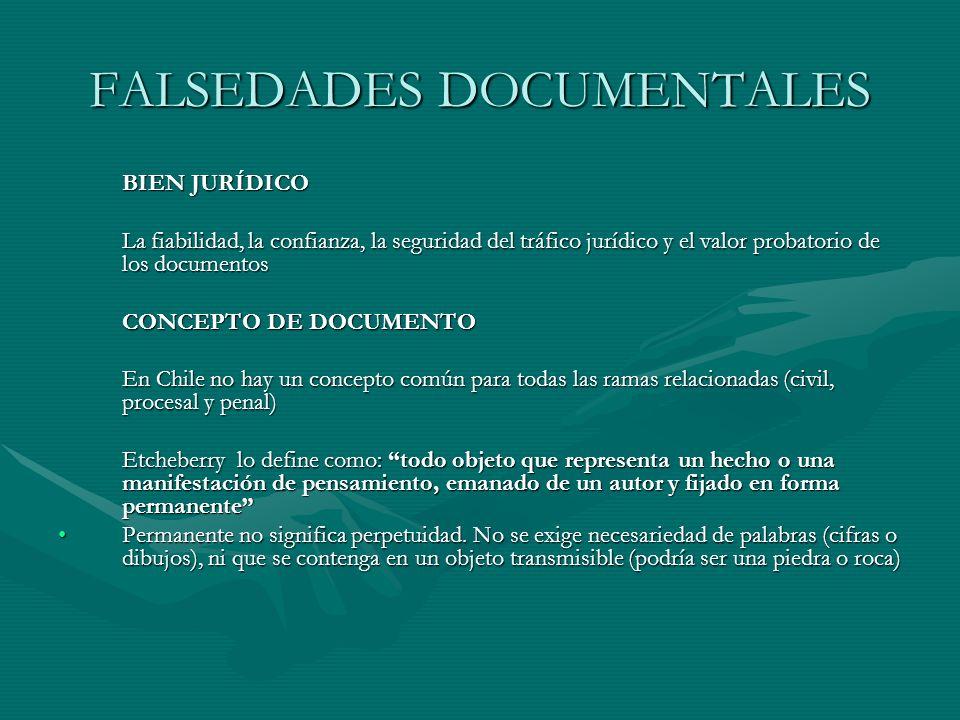 FALSEDADES DOCUMENTALES BIEN JURÍDICO La fiabilidad, la confianza, la seguridad del tráfico jurídico y el valor probatorio de los documentos CONCEPTO