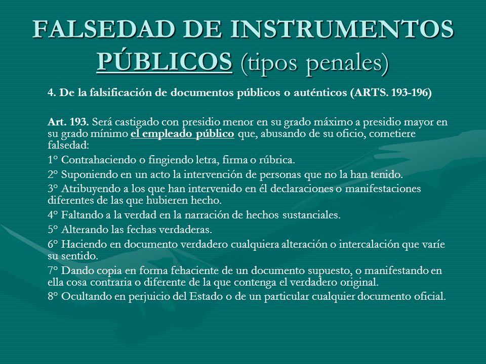 FALSEDAD DE INSTRUMENTOS PÚBLICOS (tipos penales) 4. De la falsificación de documentos públicos o auténticos (ARTS. 193-196) Art. 193. Será castigado