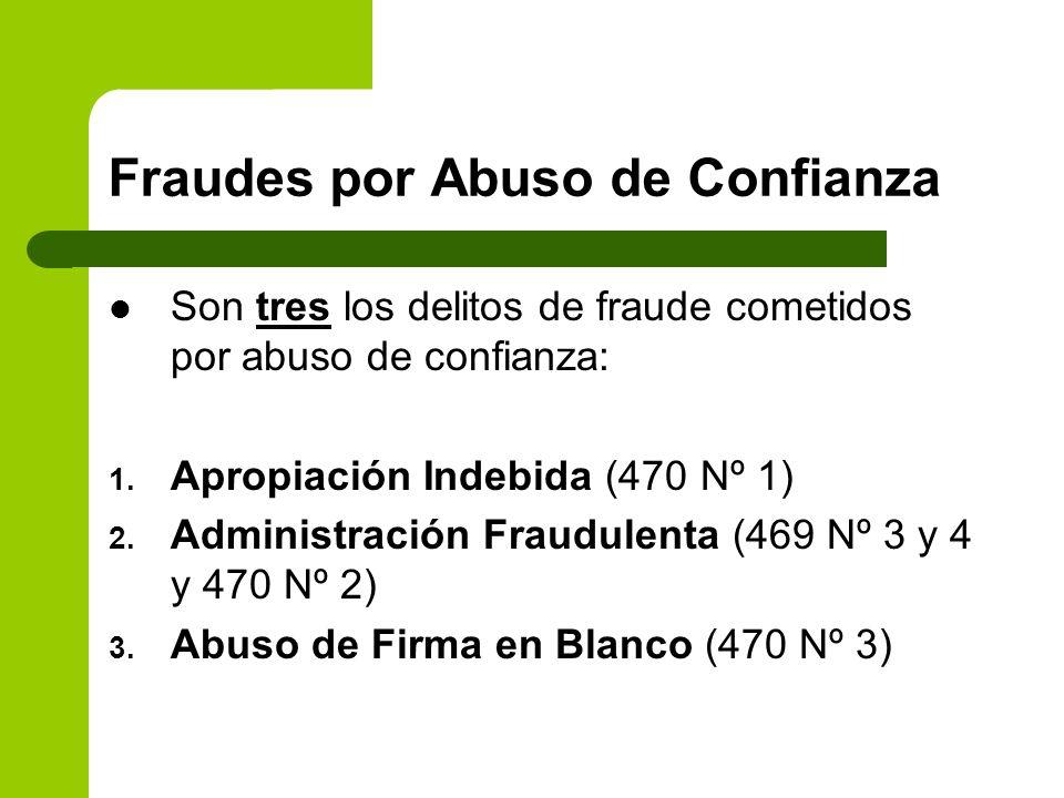 Fraudes por Abuso de Confianza Son tres los delitos de fraude cometidos por abuso de confianza: 1. Apropiación Indebida (470 Nº 1) 2. Administración F