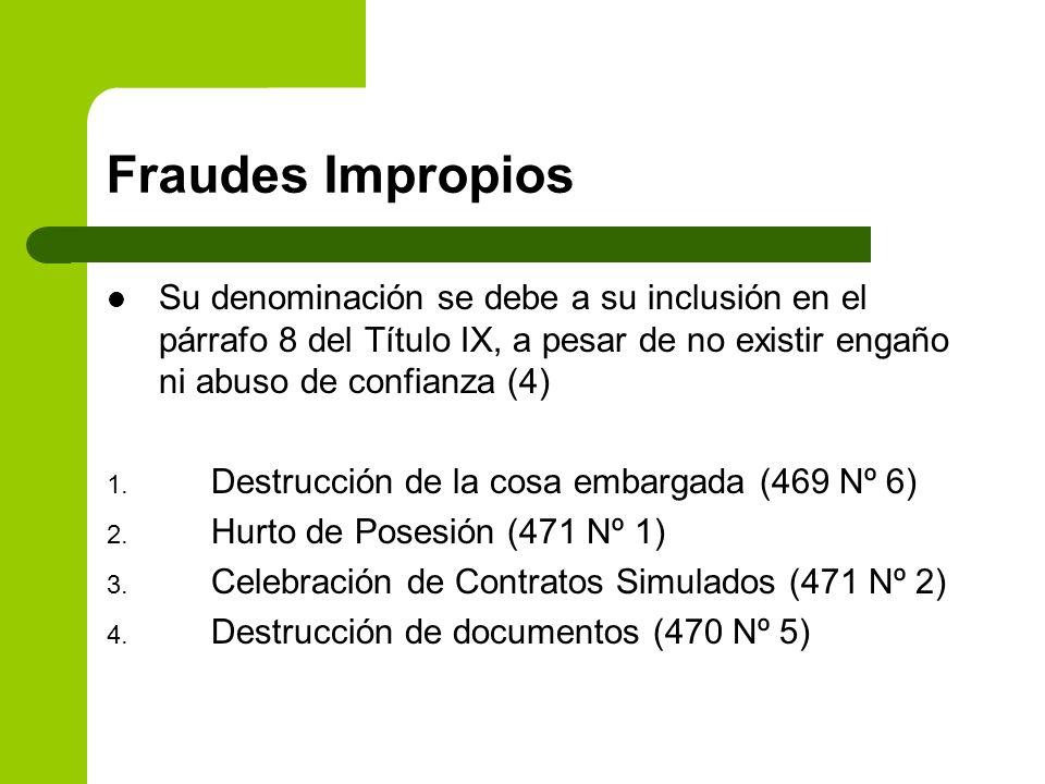 Fraudes Impropios Su denominación se debe a su inclusión en el párrafo 8 del Título IX, a pesar de no existir engaño ni abuso de confianza (4) 1. Dest