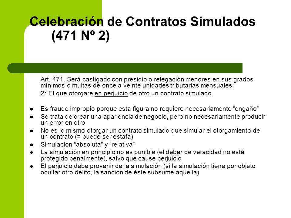 Celebración de Contratos Simulados (471 Nº 2) Art. 471. Será castigado con presidio o relegación menores en sus grados mínimos o multas de once a vein
