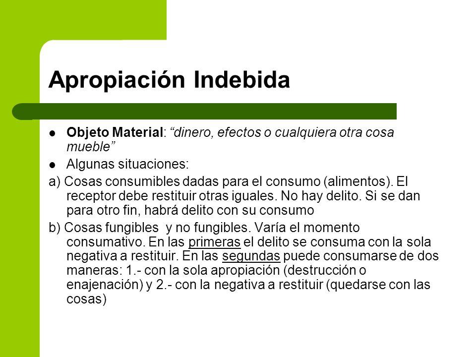Apropiación Indebida Objeto Material: dinero, efectos o cualquiera otra cosa mueble Algunas situaciones: a) Cosas consumibles dadas para el consumo (a