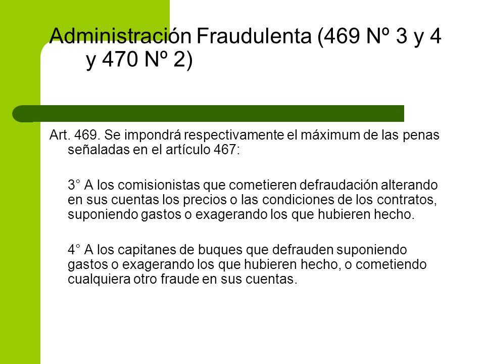 Administración Fraudulenta (469 Nº 3 y 4 y 470 Nº 2) Art. 469. Se impondrá respectivamente el máximum de las penas señaladas en el artículo 467: 3° A
