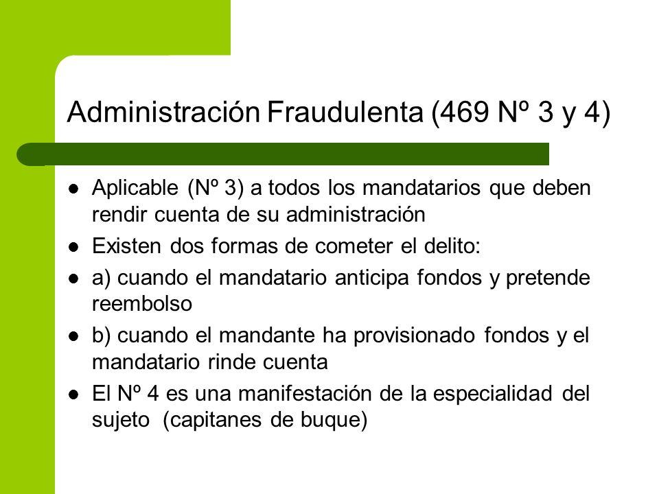 Administración Fraudulenta (469 Nº 3 y 4) Aplicable (Nº 3) a todos los mandatarios que deben rendir cuenta de su administración Existen dos formas de