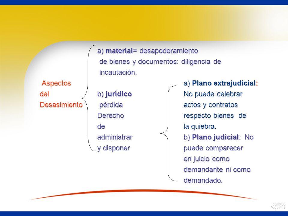 03/00/00 Page # 10 Concepto Inhibición del fallido para administrar y disponer de los bienes comprendidos en la quiebra. SEGUNDO EFECTO: Desasimiento