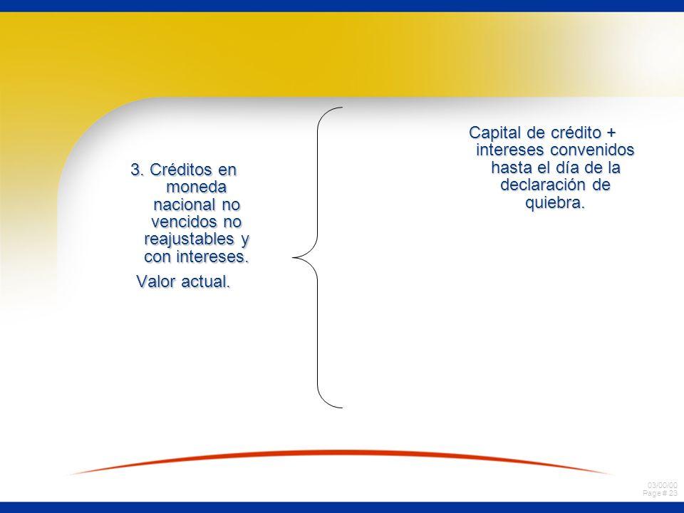 03/00/00 Page # 22 2. Créditos en moneda nacional vencidos reajustables y sin intereses. Valor actual Capital del crédito + reajustes hasta el día de