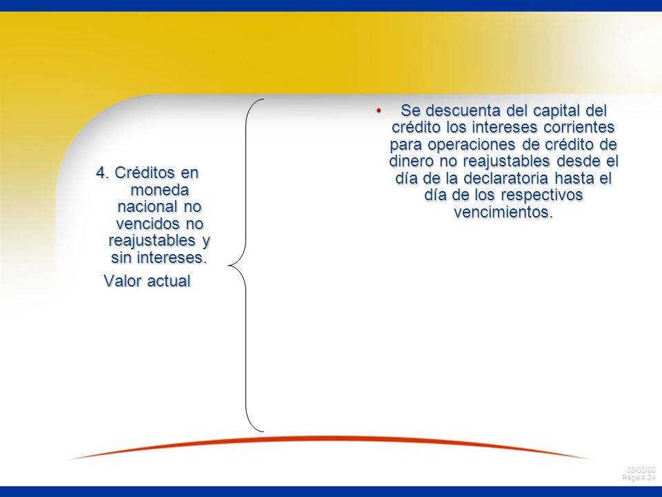 03/00/00 Page # 23 3. Créditos en moneda nacional no vencidos no reajustables y con intereses. Valor actual. Capital de crédito + intereses convenidos
