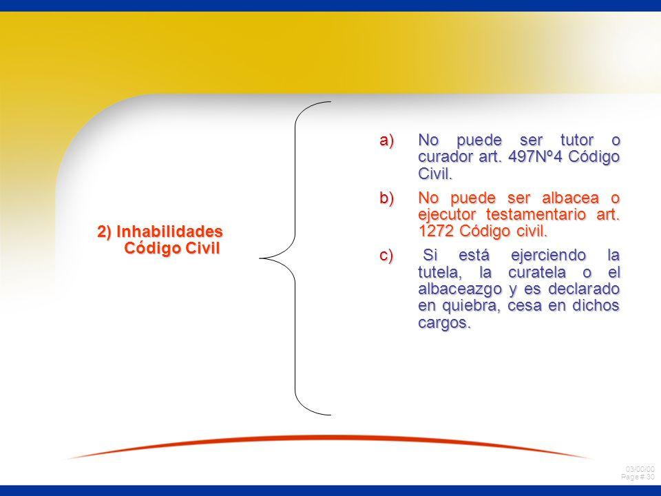 03/00/00 Page # 29 Párrafo VII Inhabilidades. a) Fuente legal Art. 73 Ley de Quiebra = La declaración de quiebra no priva al fallido del ejercicio de