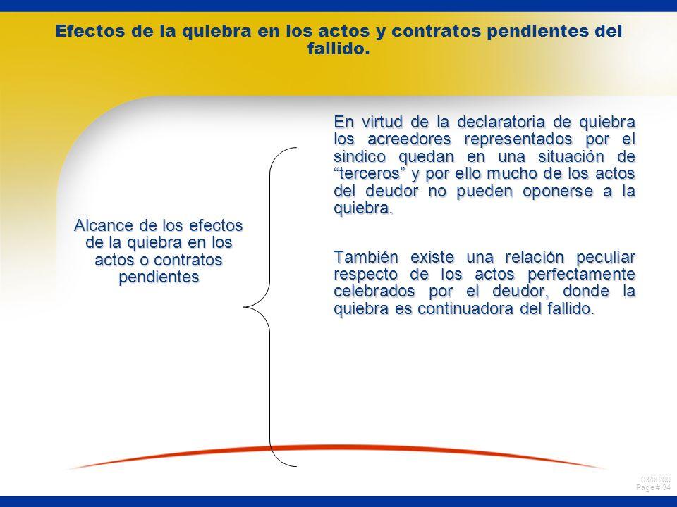 03/00/00 Page # 33 Efectos de la quiebra en los actos y contratos pendientes del fallido. ¿Que se entiende por actos o contratos pendientes? Según la