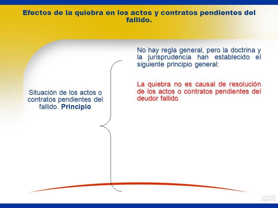 03/00/00 Page # 34 Efectos de la quiebra en los actos y contratos pendientes del fallido. Alcance de los efectos de la quiebra en los actos o contrato