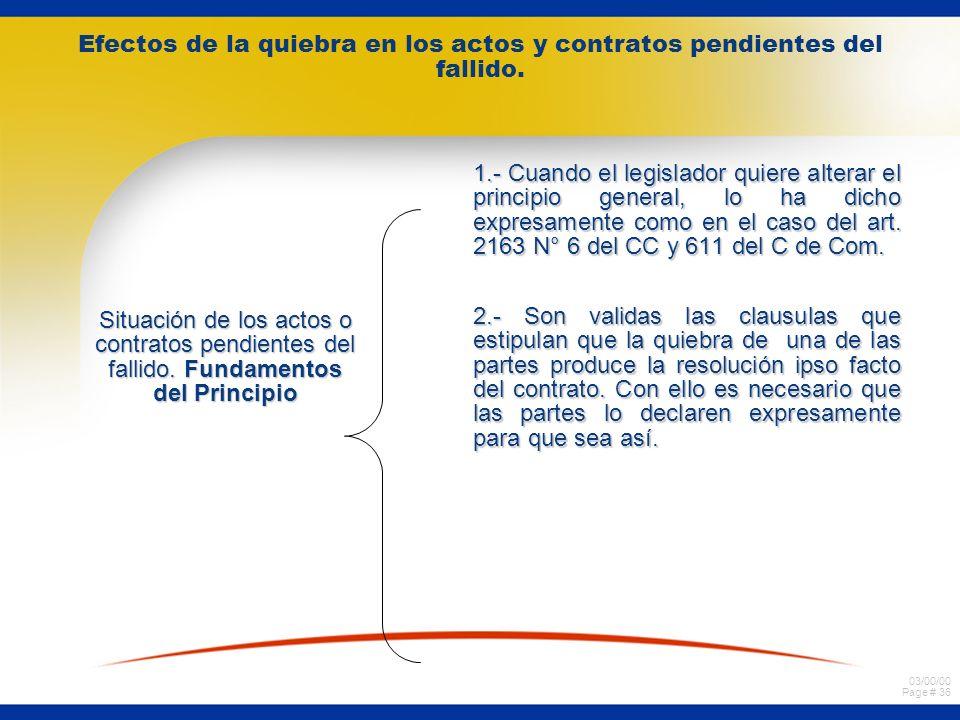 03/00/00 Page # 35 Efectos de la quiebra en los actos y contratos pendientes del fallido. Situación de los actos o contratos pendientes del fallido. P