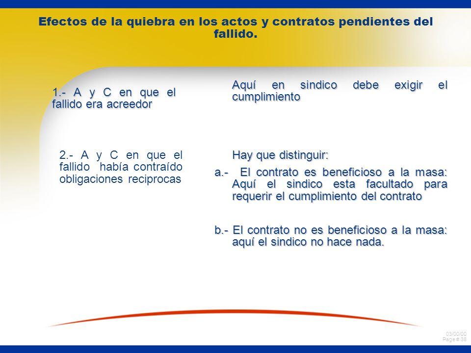 03/00/00 Page # 37 Efectos de la quiebra en los actos y contratos pendientes del fallido. ¿Qué pasa en aquellos casos en que no existe una norma espec