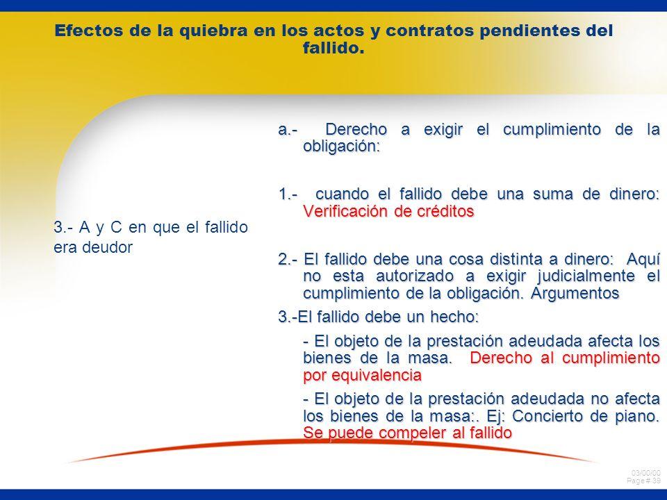 03/00/00 Page # 38 Efectos de la quiebra en los actos y contratos pendientes del fallido. 1.- A y C en que el fallido era acreedor Aquí en sindico deb
