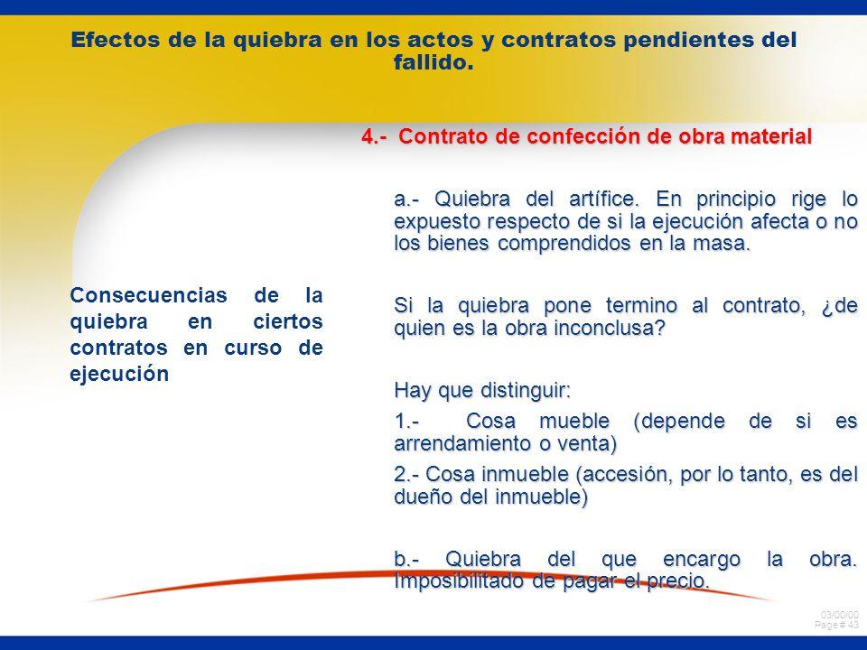 03/00/00 Page # 42 Efectos de la quiebra en los actos y contratos pendientes del fallido. Consecuencias de la quiebra en ciertos contratos en curso de
