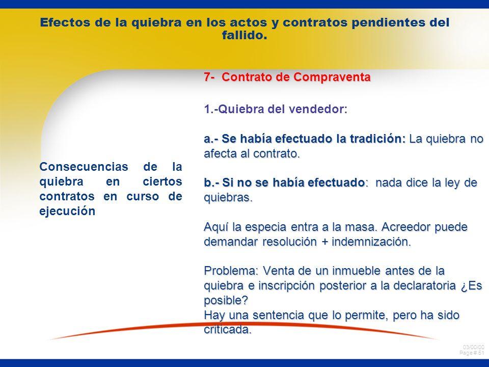 03/00/00 Page # 50 Efectos de la quiebra en los actos y contratos pendientes del fallido. Consecuencias de la quiebra en ciertos contratos en curso de
