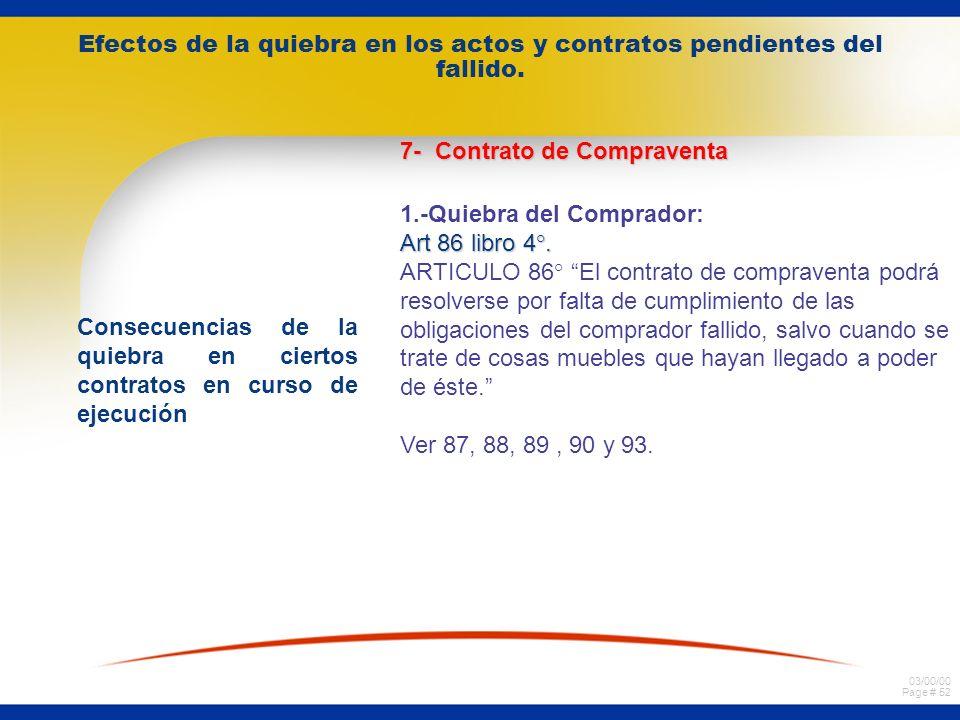 03/00/00 Page # 51 Efectos de la quiebra en los actos y contratos pendientes del fallido. Consecuencias de la quiebra en ciertos contratos en curso de