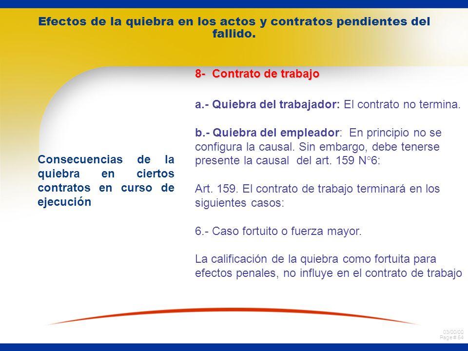 03/00/00 Page # 53 Efectos de la quiebra en los actos y contratos pendientes del fallido. Consecuencias de la quiebra en ciertos contratos en curso de