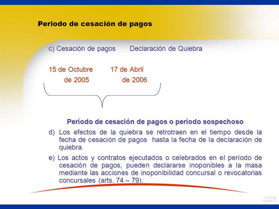 03/00/00 Page # 56 EFECTOS RETROACTIVOS DE LA QUIEBRA ASPECTOS GENERALES:ASPECTOS GENERALES: a)El desasimiento protege el interés de todos los acreedo