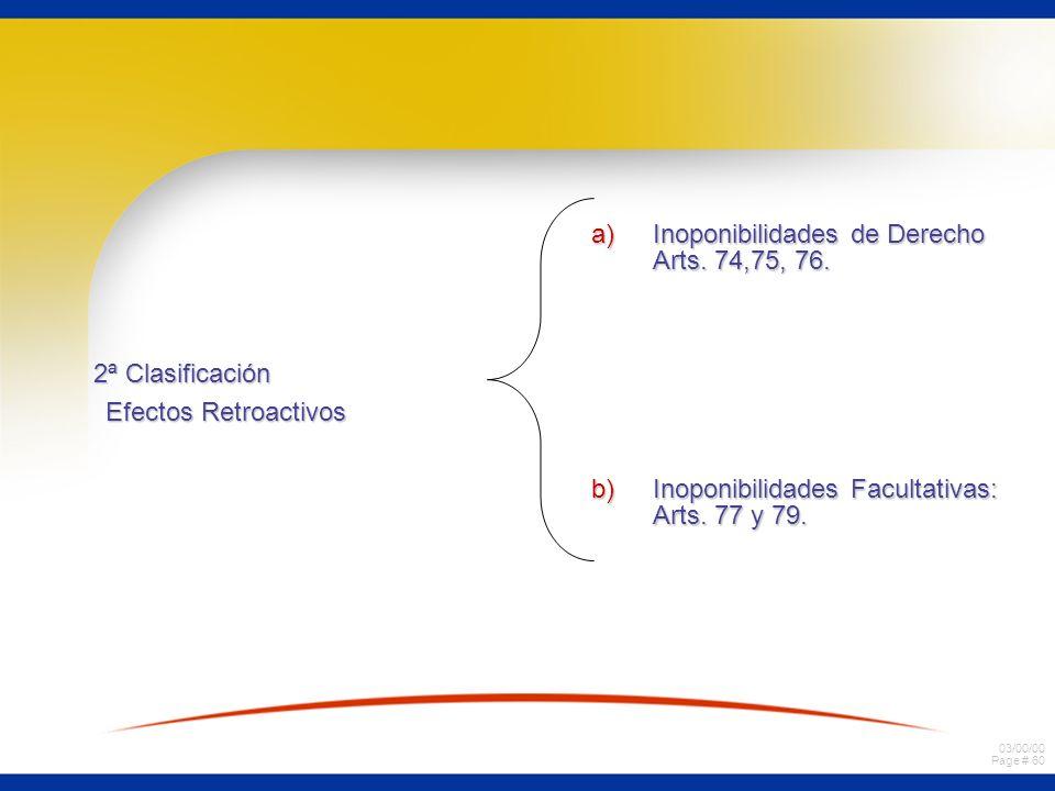 03/00/00 Page # 59 3. Clasificación de los efectos de retroactivos de la quiebra. a) actos gratuitos a) actos gratuitos a) comunes a a) comunes a todo