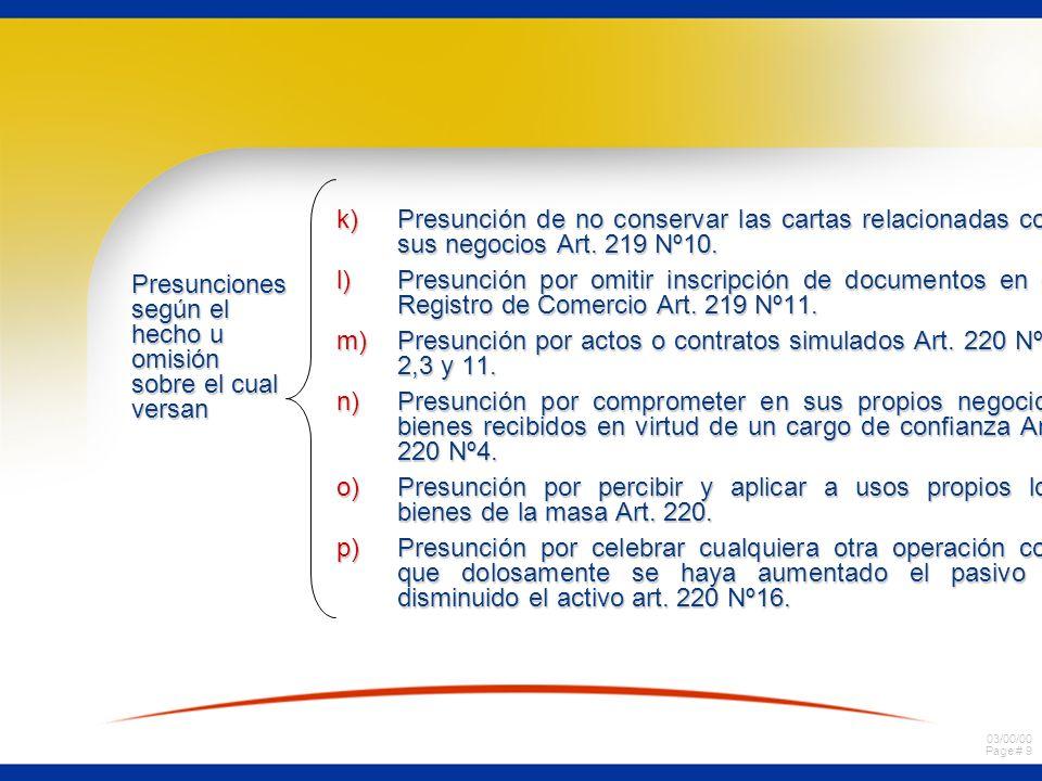 03/00/00 Page # 9 k)Presunción de no conservar las cartas relacionadas con sus negocios Art.