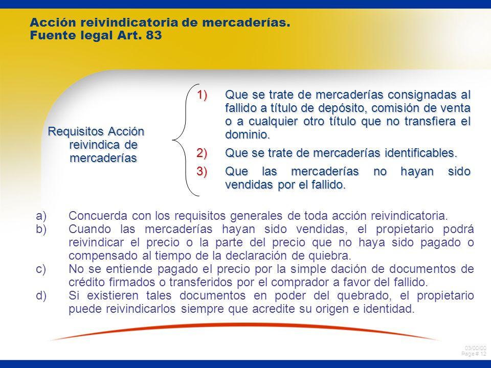 03/00/00 Page # 12 Acción reivindicatoria de mercaderías.