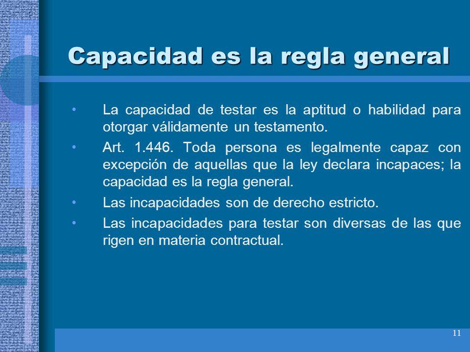 11 Capacidad es la regla general La capacidad de testar es la aptitud o habilidad para otorgar válidamente un testamento. Art. 1.446. Toda persona es