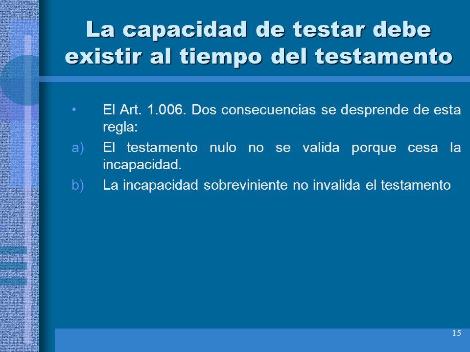 15 La capacidad de testar debe existir al tiempo del testamento El Art. 1.006. Dos consecuencias se desprende de esta regla: a)El testamento nulo no s