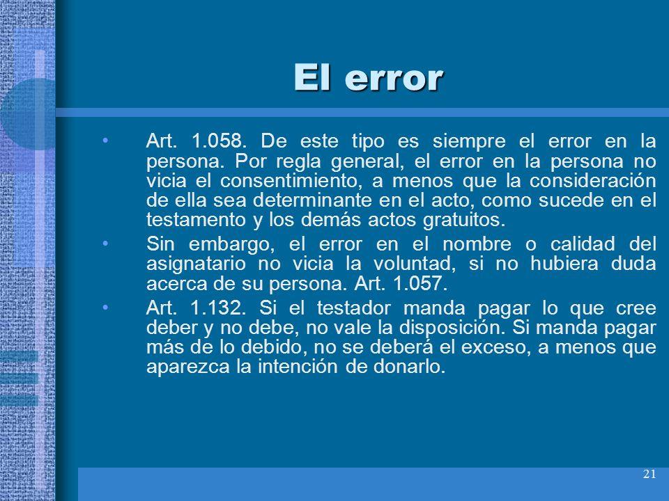 21 El error Art. 1.058. De este tipo es siempre el error en la persona. Por regla general, el error en la persona no vicia el consentimiento, a menos