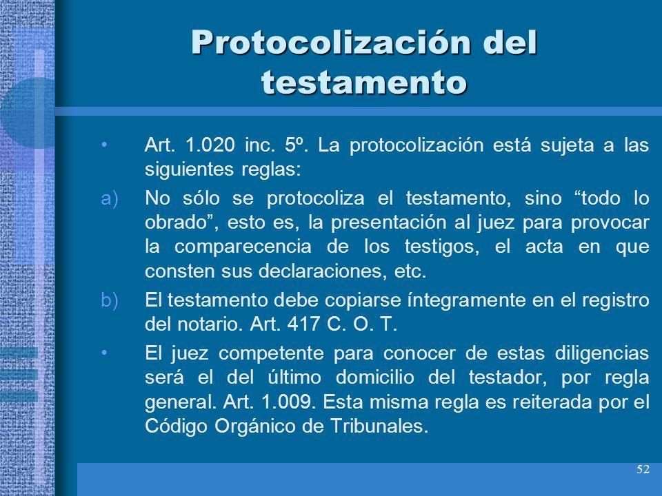 52 Protocolización del testamento Art. 1.020 inc. 5º. La protocolización está sujeta a las siguientes reglas: a)No sólo se protocoliza el testamento,