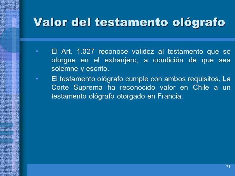 71 Valor del testamento ológrafo El Art. 1.027 reconoce validez al testamento que se otorgue en el extranjero, a condición de que sea solemne y escrit