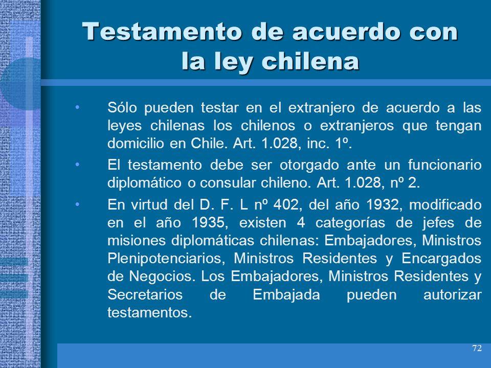 72 Testamento de acuerdo con la ley chilena Sólo pueden testar en el extranjero de acuerdo a las leyes chilenas los chilenos o extranjeros que tengan