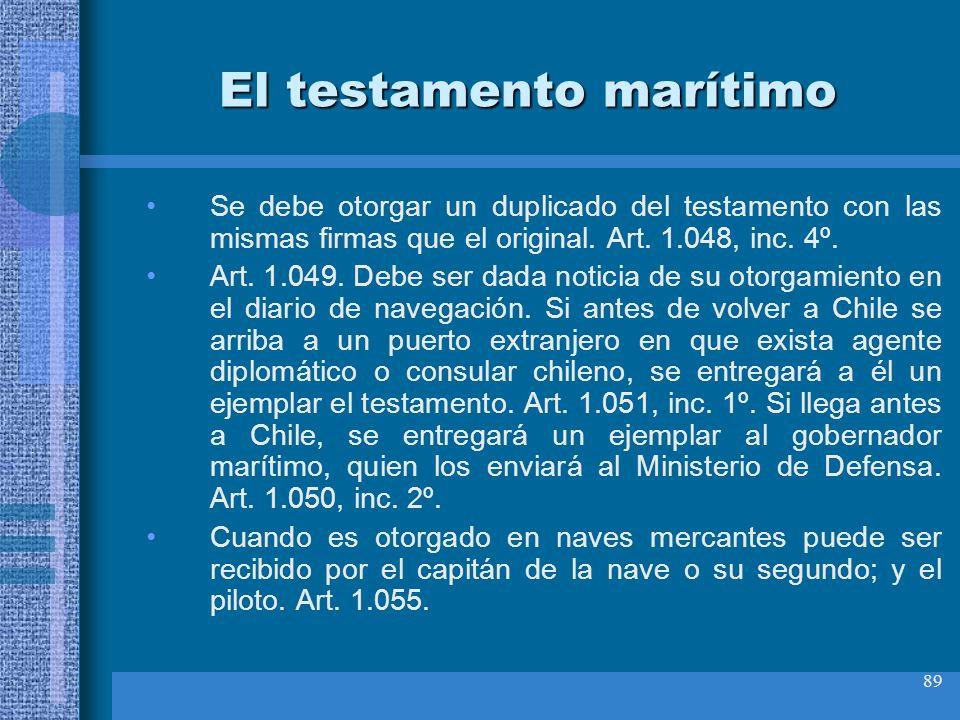 89 El testamento marítimo Se debe otorgar un duplicado del testamento con las mismas firmas que el original. Art. 1.048, inc. 4º. Art. 1.049. Debe ser
