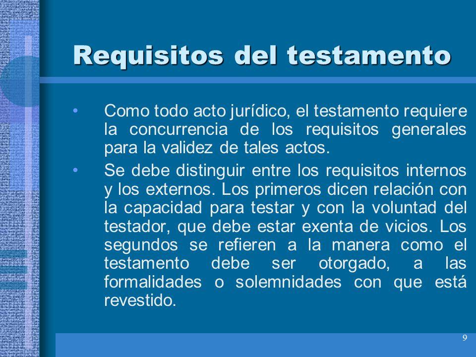 9 Requisitos del testamento Como todo acto jurídico, el testamento requiere la concurrencia de los requisitos generales para la validez de tales actos