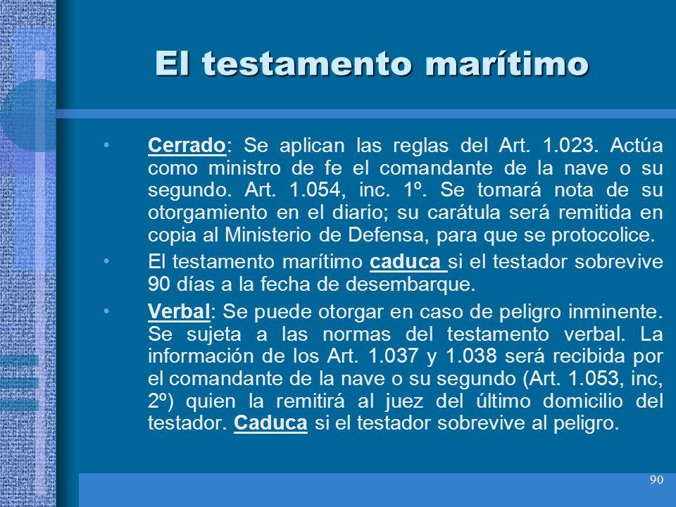 90 El testamento marítimo Cerrado: Se aplican las reglas del Art. 1.023. Actúa como ministro de fe el comandante de la nave o su segundo. Art. 1.054,