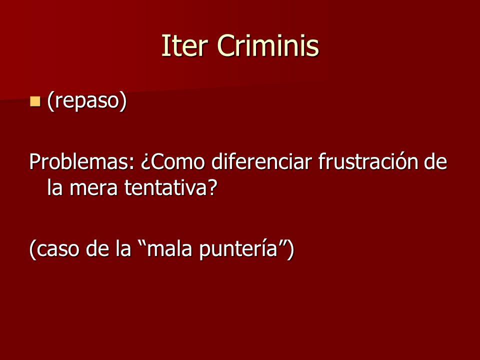 Iter Criminis (repaso) (repaso) Problemas: ¿Como diferenciar frustración de la mera tentativa? (caso de la mala puntería)