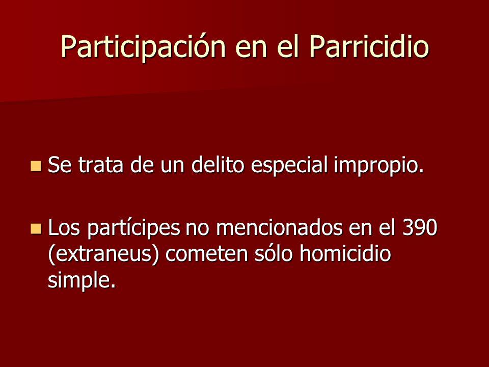 Participación en el Parricidio Se trata de un delito especial impropio. Se trata de un delito especial impropio. Los partícipes no mencionados en el 3