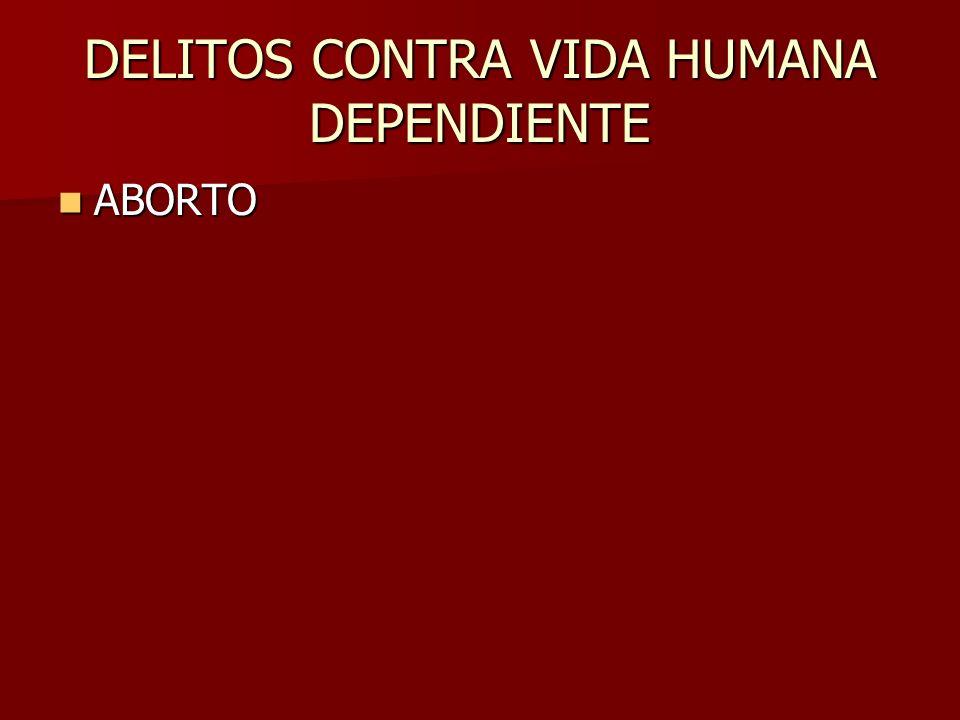 DELITOS CONTRA VIDA HUMANA DEPENDIENTE ABORTO ABORTO