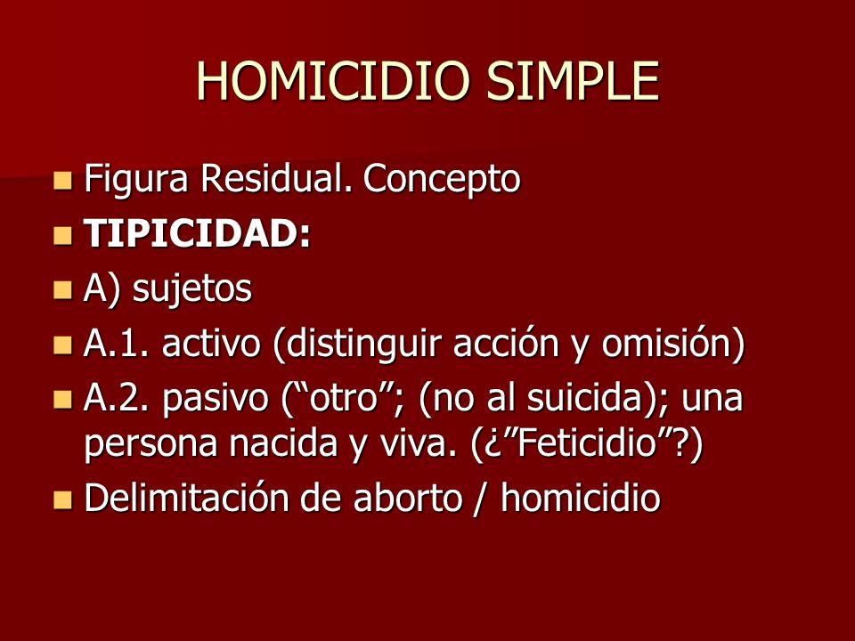 HOMICIDIO SIMPLE Figura Residual. Concepto Figura Residual. Concepto TIPICIDAD: TIPICIDAD: A) sujetos A) sujetos A.1. activo (distinguir acción y omis