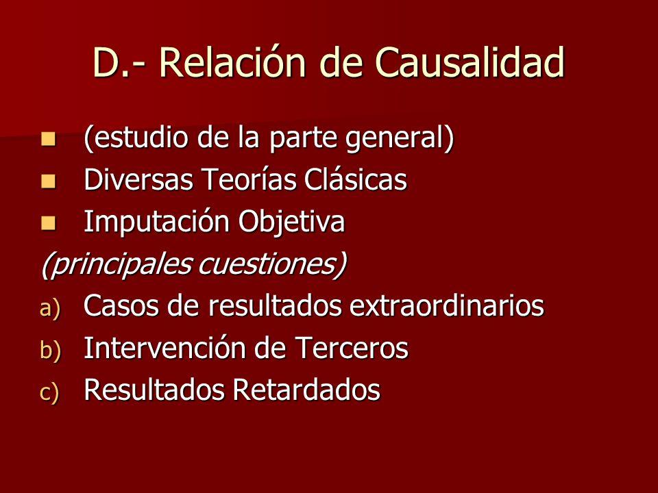 D.- Relación de Causalidad (estudio de la parte general) (estudio de la parte general) Diversas Teorías Clásicas Diversas Teorías Clásicas Imputación