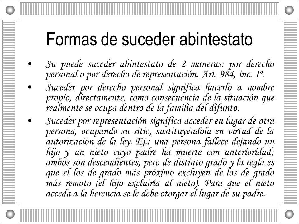 Formas de suceder abintestato Su puede suceder abintestato de 2 maneras: por derecho personal o por derecho de representación. Art. 984, inc. 1º. Suce