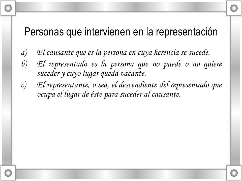 Personas que intervienen en la representación a)El causante que es la persona en cuya herencia se sucede. b)El representado es la persona que no puede